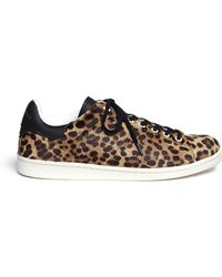 Étoile Isabel Marant 'Bart' Leopard Calf Hair Wedge Sneakers animal - Lyst