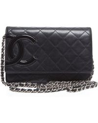 Chanel Pre-Owned Lambskin Cambon Woc Wallet On Chain black - Lyst