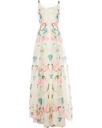 Honor Neon Fleur De Lis Organza Scoop Neck Gown - Lyst