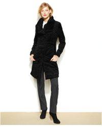 Jones New York Faux-Fur Walker Coat - Lyst