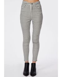 Missguided Gingham High Waisted Skinny Trousers White - Lyst