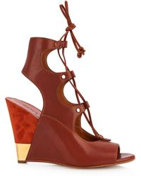 Chloé Eliza Leather And Suede Wedge Sandals - Lyst