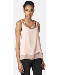 Topshop Women'S Embellished Split Back Shell Top - Lyst