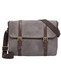 Fossil - 'estate' Twill & Leather Messenger Bag - Lyst