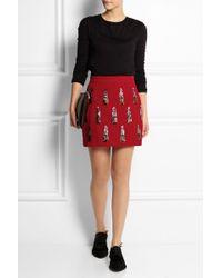 House Of Holland Sequin-embellished Velvet Mini Skirt - Lyst