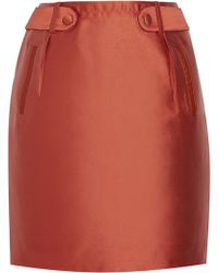 Raoul Leather-trimmed Satin Skirt - Lyst