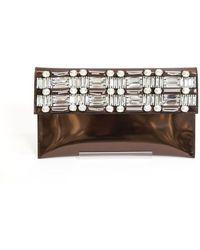 Marni Embellished Metallic Envelope Clutch - Lyst