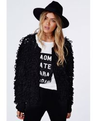 Missguided Catriona Loop Knit Shrug Cardigan Black - Lyst