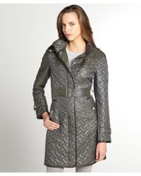 Cole Haan Fatigue Green Quilted Faux Leather Trim Belted Coat - Lyst
