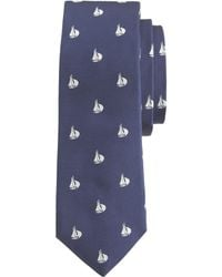 J.Crew Italian Silk Tie With Embroidered Schooners blue - Lyst