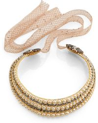Erickson Beamon Stratosphere Crystal & Faux Pearl Ribbon Collar Necklace - Lyst