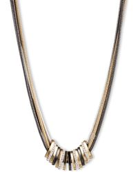 Nine West - Tri Tone Frontal Slider Necklace - Lyst