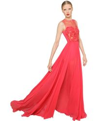 Elie Saab Embellished Tulle & Silk Georgette Dress - Lyst