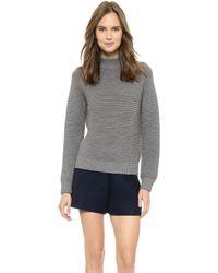 Carven Fancy Knit Sweater Mottled Grey - Lyst