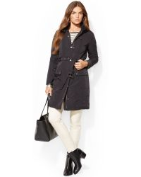 Lauren by Ralph Lauren Faux-leather-trim Trench Coat - Lyst