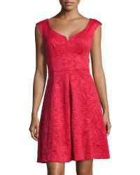 Maggy London Jacquard Sleeveless Fit-And-Flare Dress - Lyst