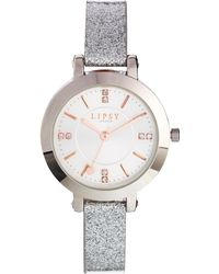 Lipsy | Silver Glitter Strap Watch with Silver Dial | Lyst