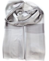 Burberry Gray Checked Scarf - Lyst