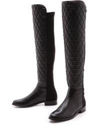 Stuart Weitzman Quilt Stretch Boots Black - Lyst