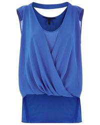BCBGMAXAZRIA Nicoleta Draped Crossover Top blue - Lyst