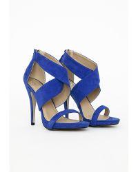 Missguided Crossover Strap Heeled Sandals Cobalt Blue - Lyst