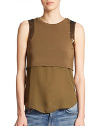 Haute Hippie Embellished Layered Top green - Lyst