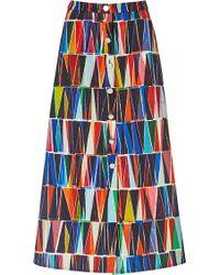 Saloni Leah Geometric Button Front Skirt - Lyst