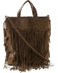 En Shalla - Fringed Woven Tote - Lyst