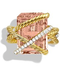 David Yurman - Cable Wrap Ring With Faceted Morganite & Diamonds In 18k Gold - Lyst