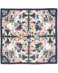 Erdem Peabody Square Wool Wallpaper Floral Print Scarf Blackyellowpink - Lyst