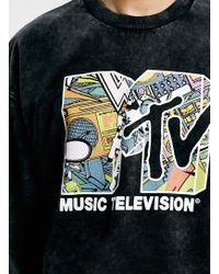 LAC - Washed Bk Mtv Pement Print Oversized Sweatshirt - Lyst