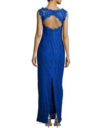 Kay J's By Kay Unger - Lace-overlay Sleeveless Cutout-back Gown - Lyst