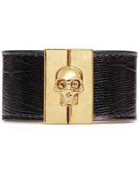 Alexander McQueen Skull Clasp Wide Leather Bracelet gold - Lyst