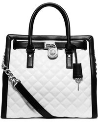 MICHAEL Michael Kors Hamilton Quilted North-South Tote Bag black - Lyst