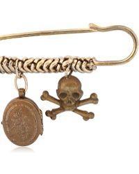 Maria Zureta - Skull & Crossbones Bronze Safety Pin - Lyst