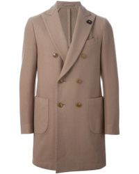 Lardini Double Breasted Short Coat - Lyst