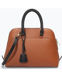 Zara Twotone Mini City Bag - Lyst