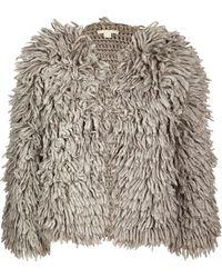 Michael Kors Wool Blend Textured Cardigan Jacket - Lyst