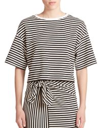 Tibi Ren Stripe Cropped Top black - Lyst