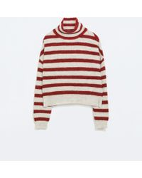 Zara Striped Turtleneck Sweater - Lyst