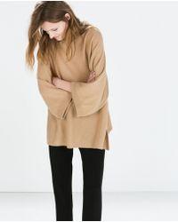 Zara Cashmere Poncho with Side Slits - Lyst