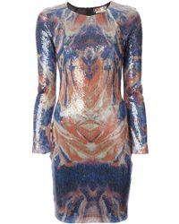 MSGM Blurred Sequined Dress - Lyst