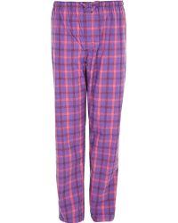 Calvin Klein Cotton Woven Plaid Pyjama Pants Purple - Lyst