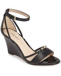 Nine West 'Fastness' Ankle Strap Wedge Sandal black - Lyst