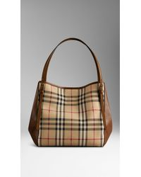 Burberry The Small Canter In Horseferry Check And Leather - Lyst