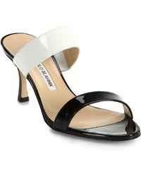 Manolo Blahnik Bicolor Patent Leather Double-Banded Sandals - Lyst