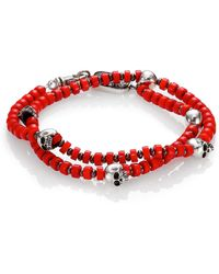 King Baby Studio Red Coral  Sterling Silver Beaded Bracelet - Lyst