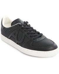 Armani Jeans Navy Perforated Leather Sneakers - Lyst