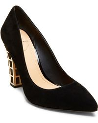 B Brian Atwood | Otavia Embellished Suede Block Heel Pumps | Lyst