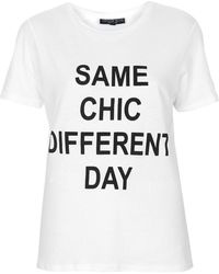 Topshop Petite Same Chic Different Day Motif Tee  White - Lyst